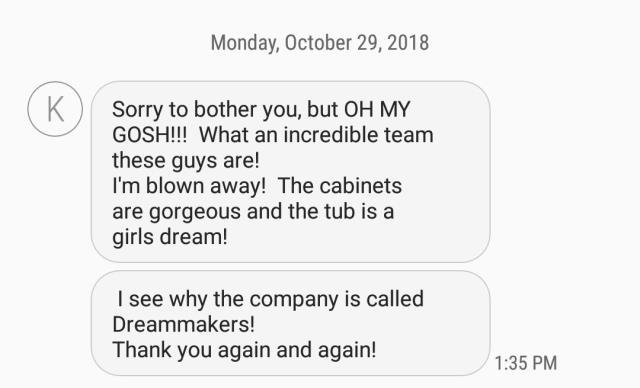 Jupiter, FL - We are starting a total Master bath remodel in the Abacoa community today. Received this text from the happy homeowner.