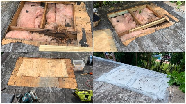 We repaired a leaking flat roof at a home in Seffner FL 33584. We replaced some rotten wood and sealed it for a leak proof barrier.