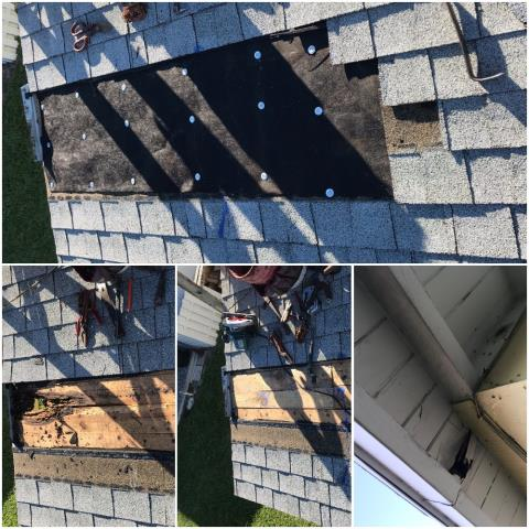 We repaired a damaged soffit on a home on N Palm Beach. The leak was from above the soffit so we replaced the rotten wood and re shingled the area.