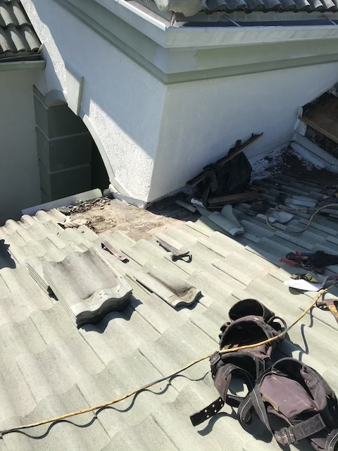 We repaired 3 leaking areas on a tile roof in West Palm Beach 33412, Iron horse Community