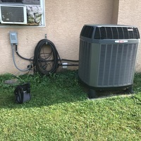 Pickerington, OH - Replaced the dual capacitor, start capacitor, and relay on a Trane Heat Pump. Cycled on cooling and found condenser fan motor shorted to ground. Replacement part ordered.