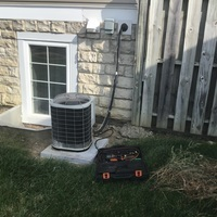 Canal Winchester, OH - Central air system diagnosed to be low on refrigerant. Upon customer request, recharged the unit with 1 lb of R-22 Freon and added Easy Seal. System cooling properly now.