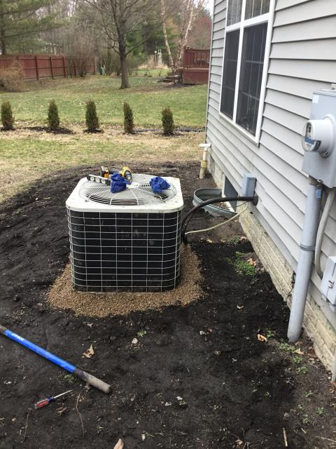 Westerville, OH - AC tune up and safety check on 1997 Bryant Condenser and leveling of unit with gravel.