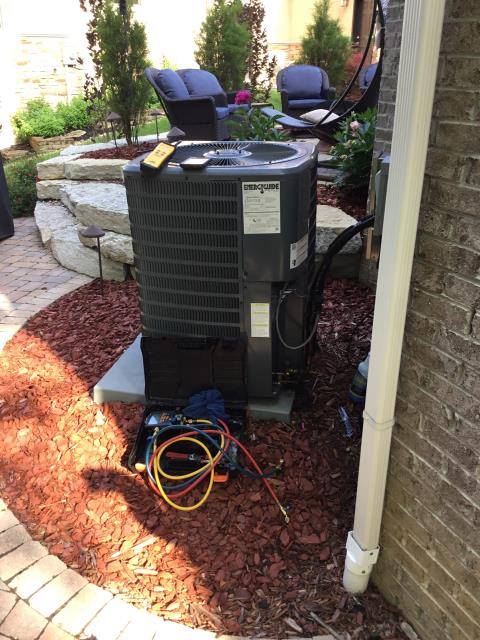New Albany, OH - Braise Copper Line to Fix Leak  and added 1.75 Refrigerant R-410A Puron into a 2015 Goodman Air Conditioner