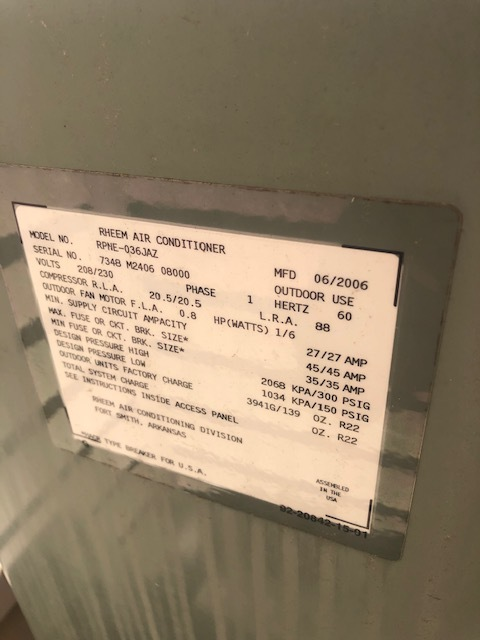 Pataskala, OH - Diagnostic service call on 2006 Rheem Air Conditioner. Tech found leak on indoor coil. Advised to replace.