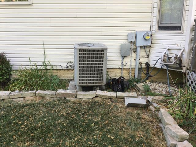Commercial Point, OH - Diagnostic Service Call on 2011 Goodman System. Not cooling home. Service work performed:  Found capacitor drained. problem is due to lack of maintenance.  Cleaned outdoor unit, filter clean, replaced capacitor and now cooling.