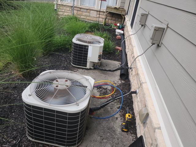 Westerville, OH - Washed Bryant outdoor unit down with hose to remove debris. Unit was quite clean. System is 16-17 years old and not cooling as much as it used to. During hotter days, The AC will struggle to maintain temperature. The system is working as it should.