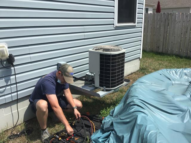 Galloway, OH - Found Bryant AC low on refrigerant. System is 16 years old, recommend replacing unit. Added 1 pound of R-22 per customer request.