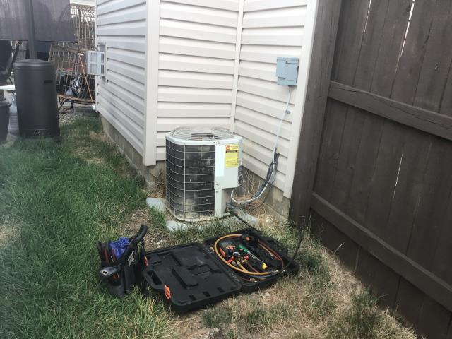 Galloway, OH - Found 2003 Bryant unit low, system has a leak in Evap coil. Gave customer options. Based on age and type of refrigerant, as well as expensive repair, recommend replacement of A/C. Select Home warranty does not cover refrigerant leak.