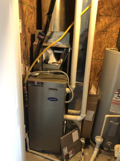 Hilliard, OH - Found frozen coil on 2011 Carrier HVAC system. Previous filter was really bad per customer could just be a dirty filter but will not know until coil is unfrozen. Turned fan to on position and cooling off and told them to try around 4-5 pm this evening to see if works ok again.