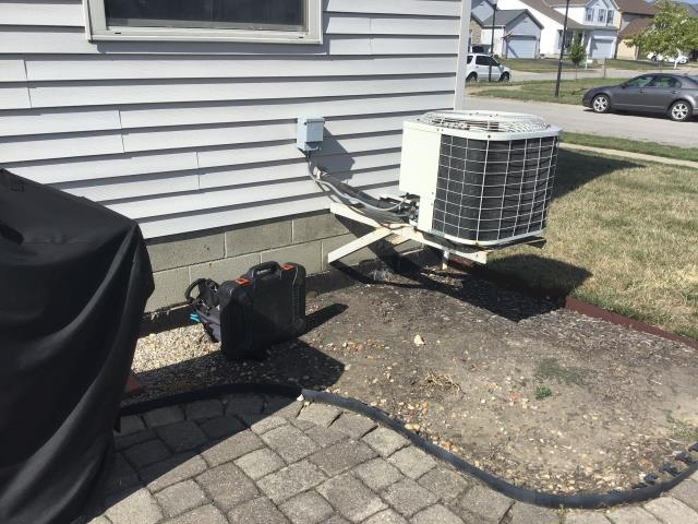 Hilliard, OH - Found breaker blown, high voltage over amp. Found high voltage wires/disconnect compromised, need to be replaced. Contactor charred, needs replaced. Condensor fan rusted and damaged, needs replaced.