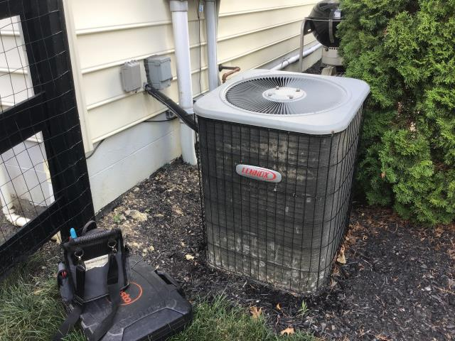 Powell, OH - Found system iced up, thawed Filter very dirty, removed. Suction 70, 11 degree superheat. Explained R-22 refrigerant phase-out. System now cooling. Furnace showing evidence of a lot of water damage over the years, reliable operation not expected