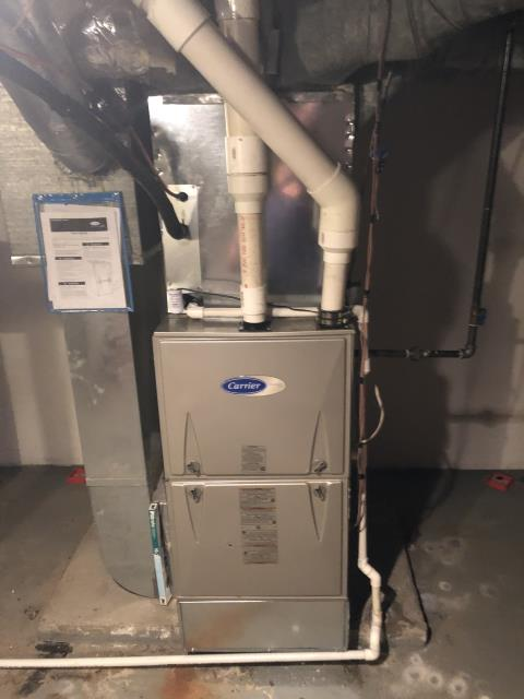 Pataskala, OH - Replaced 2018 Carrier furnace warranty circuit board also fixed the pvc from leaking down into the furnace in exhaust side. Ran furnace for 20 minutes to ensure no more leaks in furnace. How ever it is 78 in the house from the board. At this time all ok.