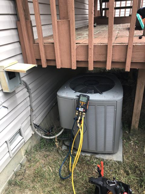 Powell, OH - Found 2010 Lennox AC low on charge. Added 2 lbs Refrigerant R-410A Puron to system. Customer declined leak search at this time. Leak search is needed to find leak and quote to fix leak. Once charged noticed really low suction pressure checked indoor coil completely caked with dog hair. Customer decided to do it himself. System will not run right until that coil is replaced or cleaned.