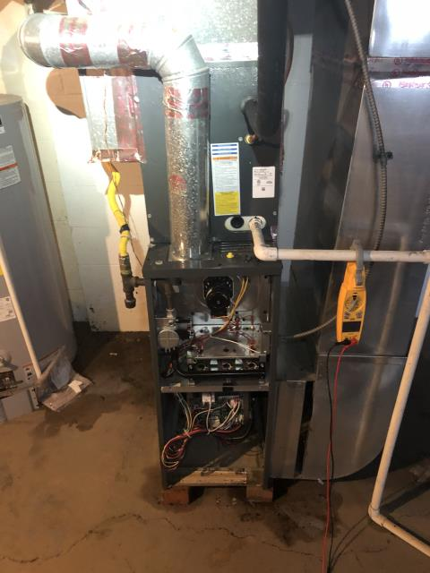 Whitehall, OH - I found and cleaned bad flame sensor on 2019 Goodman 80% 60K furnace. Everything working properly upon departure.