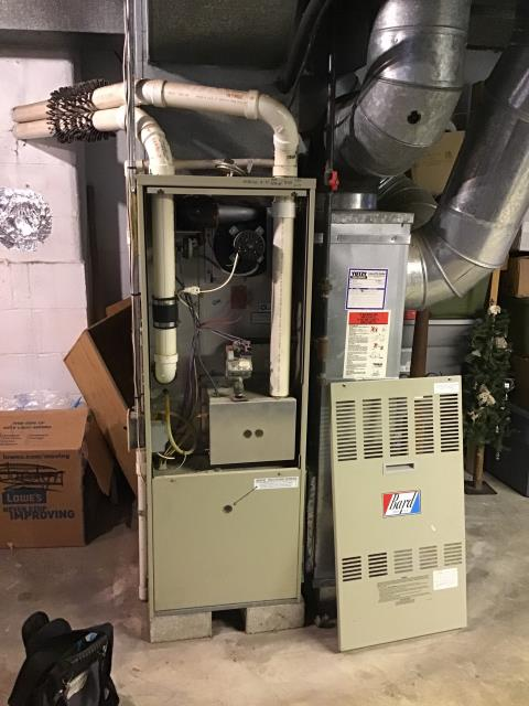 Galloway, OH - I replaced the dirty filter and found that the heat exchanger is cracked. Customer will need to decide whether to repair/replace heat exchanger or replace Bard propane furnace.