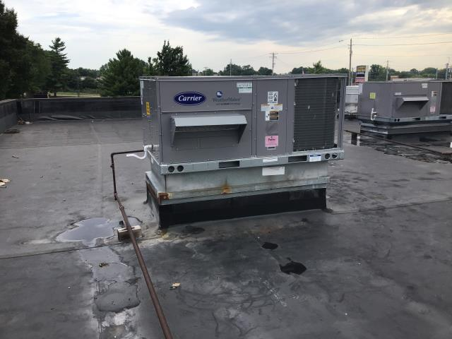Groveport, OH - Access to this Carrier rooftop unit will require a 28 ft extension ladder. We will be back out tomorrow with ladder to safely access the roof.