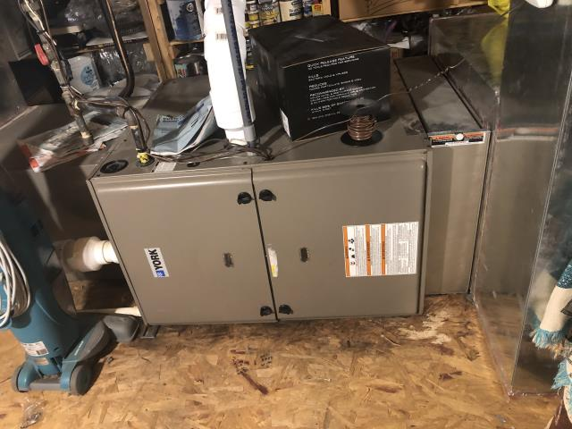 Gahanna, OH - I found condensate trap tubing clogged so I blew through tubing and cleared. Furnace is oversized for the size of the home. 2010 York gas furnace is running at time of departure.