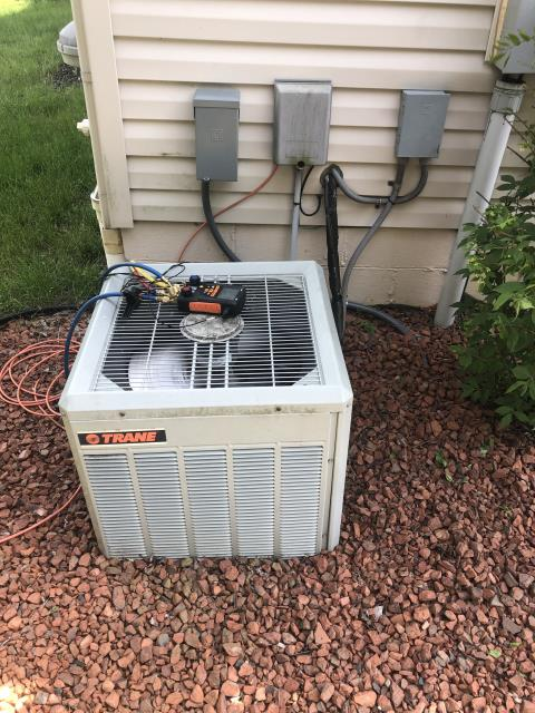 Pataskala, OH - I completed a diagnostic service call on a Trane air conditioner. Determined that the unit needed a new fan. Went over options with the customer.