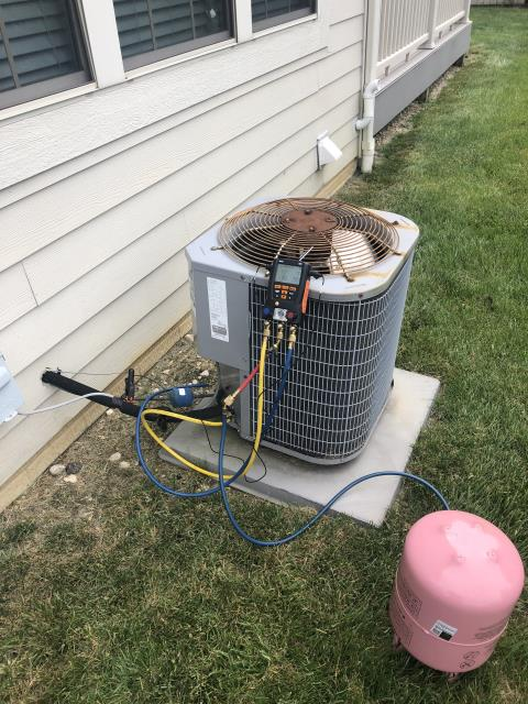 Powell, OH - I completed a diagnostic service call on a Carrier air conditioner. I determined that refrigerant was needed to be added. I recharged the unit and system is working as intended.
