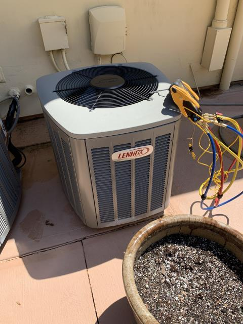 Blacklick, OH - I completed a return service for a Lennox air conditioner. I found that the reported humming sound was due to the ductwork. Customer to correct.