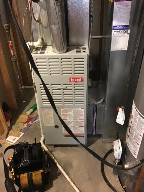 Springboro, OH - Tuneup and safety inspection on Bryant furnace. Blower motor capacitor was outside specs, inducer making loud noise. In addition, flame sensor is loose in ceramic housing. Recommended replacing furnace due to condition. It is operating as expected at this time.