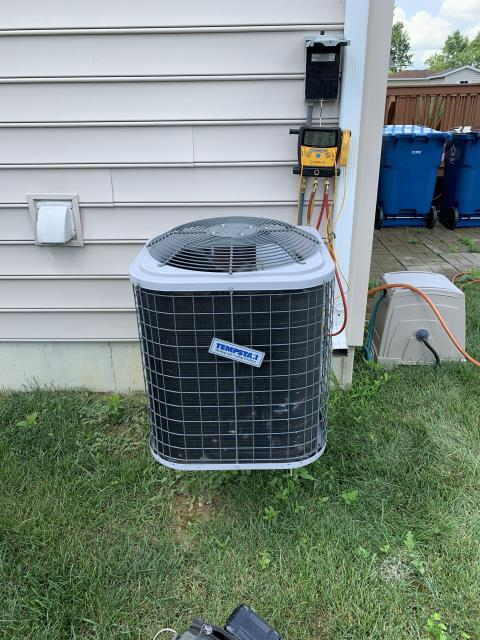 Huber Heights, OH - Found compressor for 2012 Tempstar AC not coming on. Capacitor is dead. Replaced Compressor-Motor Surge Capacitor. Checked refrigerant levels. System all good and operational.