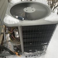 Waynesville, OH - Customer stated outside unit was making loud noise. I went to outside heat pump unit and checked discharge temp(132degrees). Cycled into defrost twice both time had normal operation. At time of departure system operating under normal parameters.