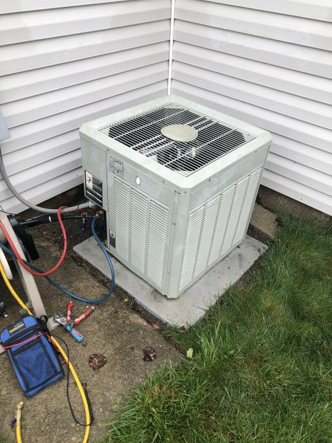 Kettering, OH - I completed the spring tune up on a Trane Air conditioner.  I visually inspected the furnace.  Checked voltage and amps. I inspected the evaporator coil.  I checked the temperature difference across the coil.   Checked refrigerant charge, voltages and amps.  I rinsed the condenser coils with water.  Cycled and monitored the system.  Operating normally at this time.