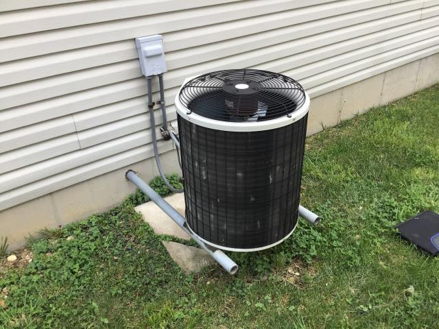 Springboro, OH - I performed a tune up and safety check on a Bryant air conditioner.  I found that the blower wheel was dirty and recommended having it pulled and cleaned.