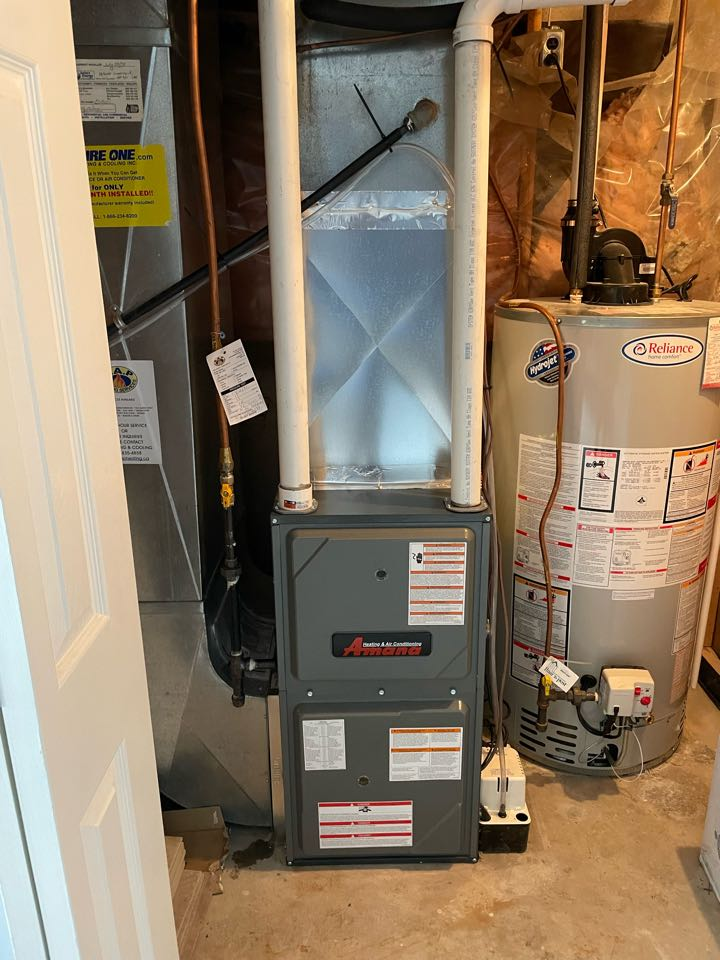 Installation of an Amana AMVC variable speed furnace for a Customer in Rockwood ON