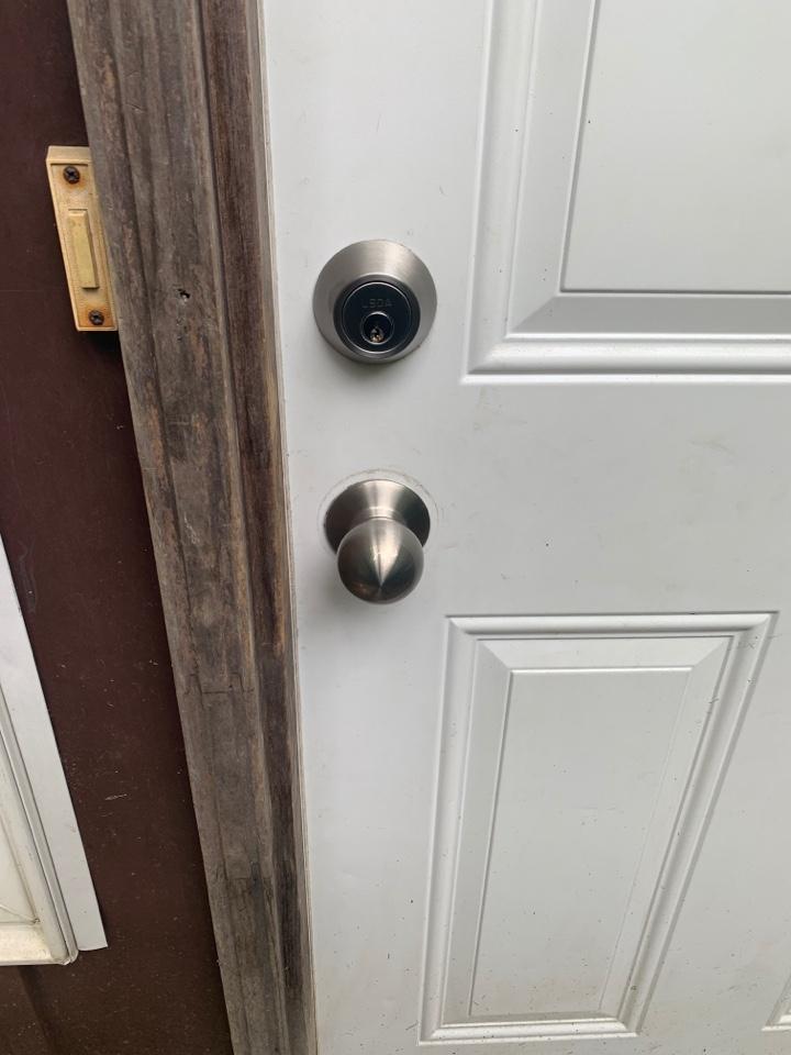 New installation of a passage knob and deadbolt