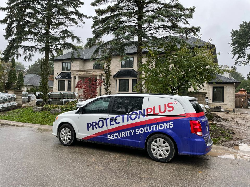 Security cameras and alarm for custom home