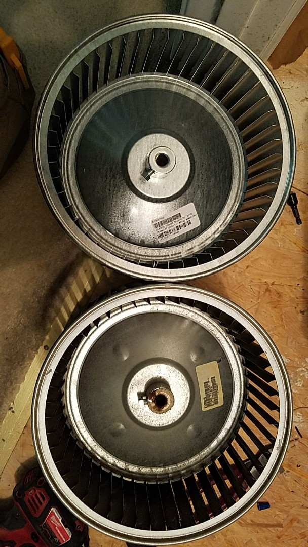 Replaced broken furnace  blower wheel. This old wheel had separated from the center hub, creating a loud metal-on-metal noise!