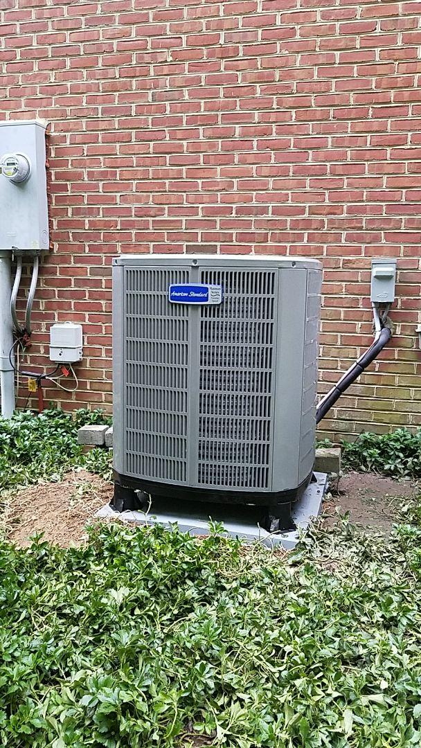 Install American Standard 20 SEER inverter heat pump system.