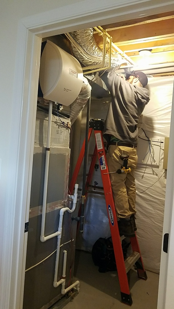 Replacing damaged flex duct prevent air leakage into basement.