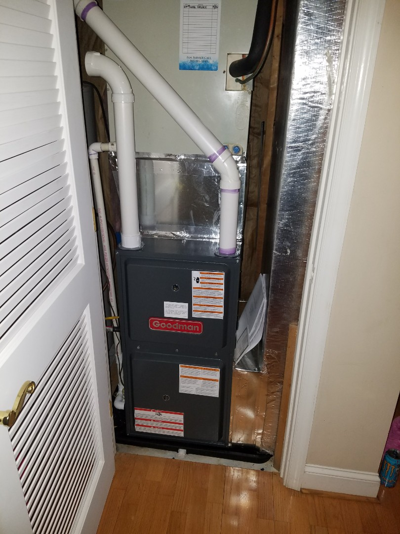 Installed new Goodman gas furnace.