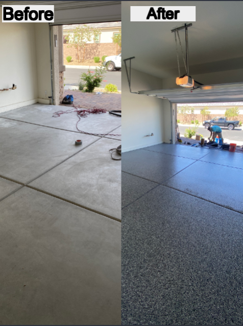 Henderson, NV - Las Vegas Concrete Decor did an excellent job of transforming our 15-year-old garage concrete floor! At the very first meeting, these guys thoroughly explained the process, answered all of our (many) questions, and helped us decided what flooring system we were looking at! We are incredibly pleased with the work results and customer service of this crew!! We can not wait to have guests over again to show off our floor!!! We highly recommend Las Vegas Concrete Decor services!!