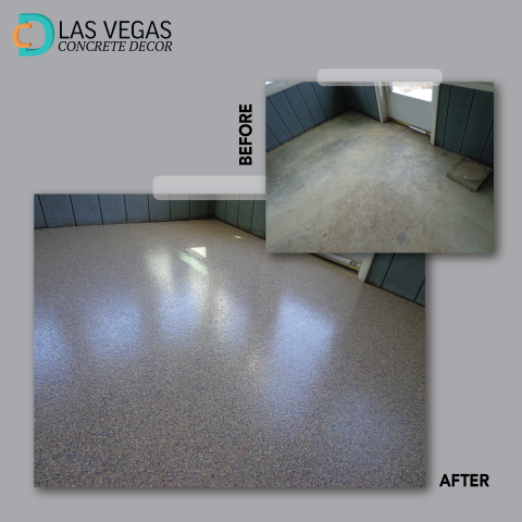 Henderson, NV - I love the look and quality of my new garage floor! These guys did a fantastic job on this project! If you are wanting quality decorative concrete floors in or outside your home, Las Vegas Concrete Decor is the one to call!