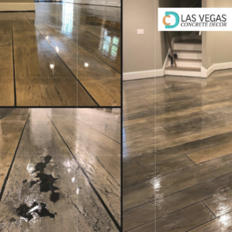 Las Vegas, NV - This wood floor looks fantastic! I am so happy we decided to go with Las Vegas Concrete Decor! They transformed our entryway into a warm, welcoming area! It is the first thing people notice when they walk into our home, and I couldn't be more pleased with the look! Everyone is always shocked to find out that the floor is actually concrete, not hardwood. I'm always showing off their work, and recommending them to everyone I know!! Fantastic quality for a fair price! I will be using this company again and again!!
