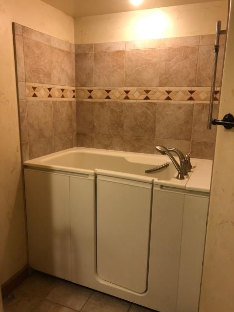 Gypsum, CO - After photo of a new Walk-in-Bath with brush nickel fixtures!