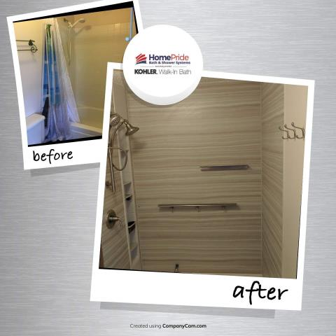 Colorado Springs, CO - Before & After photo of a previous tub shower combo to a Brand New Vein Cut  Kohler Shower with shower locker, floating shelf, teak shelf!!