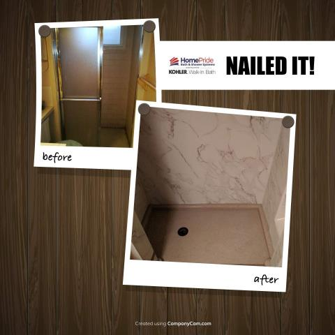 Colorado Springs, CO - Updated a basement shower to a new Kohler LuxStone walk-in shower.