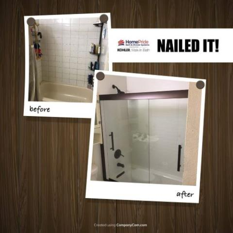 Thornton, CO - Removed tile/grout and replaced with beautiful composite material that is easy to clean. Replaced outdated tub with a timeless white bathtub and oil rubbed bronze traditional hardware.