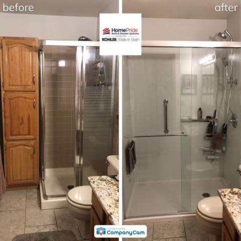 Denver, CO - One of our valued installers just completed a unique remodel. The customer needed more space to accomodate a teak shower seat, so we removed a cabinet and filled the space with a custom low threshold Kohler LuxStone shower pan and CleanCoat sliding glass door!