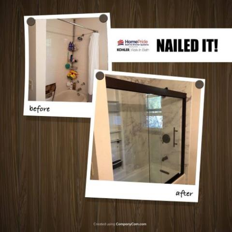 Littleton, CO - What a fun upgrade with Kohler Luxstone walls, traditional oil rubbed bronze components, and a new shower locker.