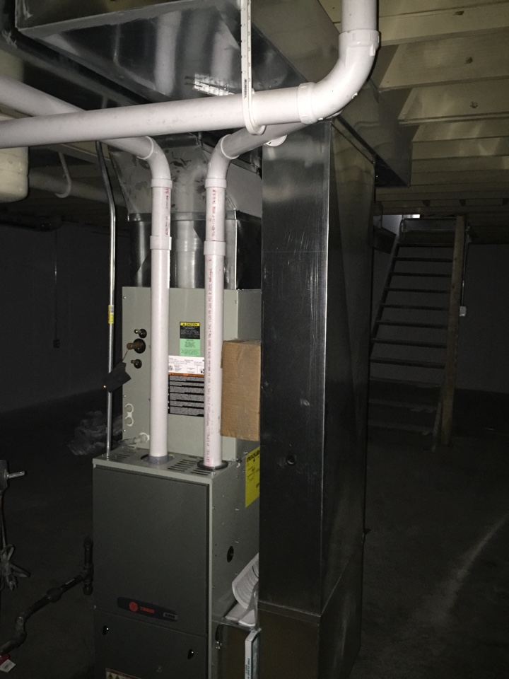 Bridgeton, MO - Inspecting new install of Trane high efficiency furnace.