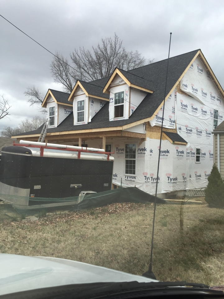 Kirkwood, MO - Measuring for a new duct work job.  Preparing for installation of a new high efficiency furnace, air conditioner, and new air conditioner lines.