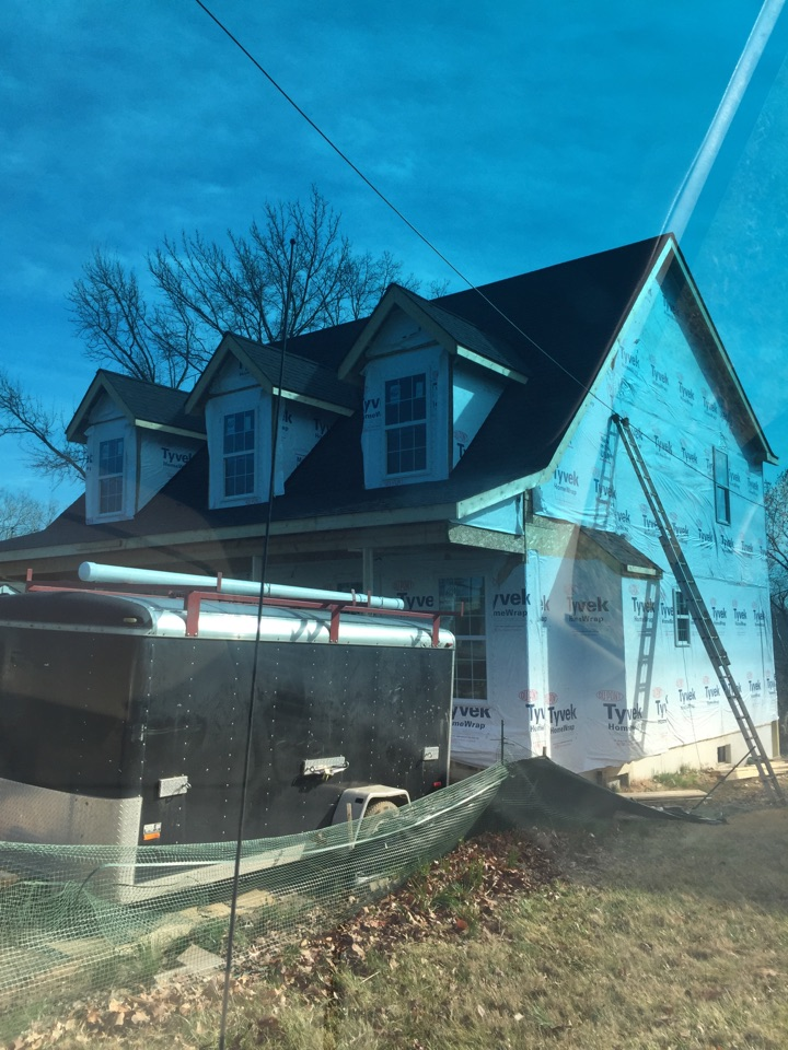 Kirkwood, MO - Meeting the plumber for this new construction house to coordinate the duct work for installation of a 13 SEER AC. The second floor is going to be getting a 80% efficient furnace with a 13 SEER air conditioner.