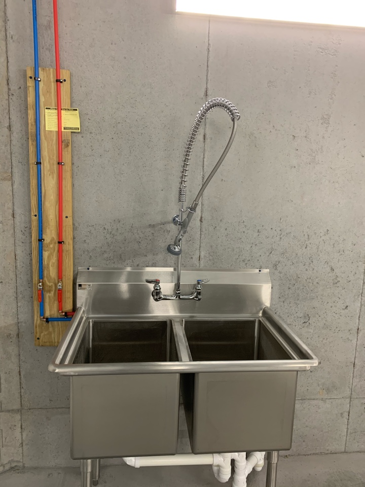 New Elkay stainless steel sink and T&S Brass faucet.